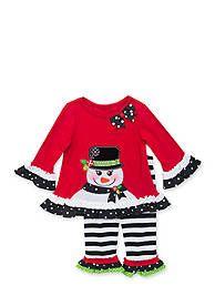 Rare Editions 2-Piece Snowman Top and Stripe Legging Set