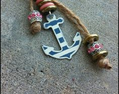 Striped Anchor Key Chain With Hemp and Beads