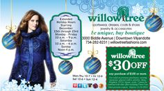 This is for YOU. We've got the deals of December happening in a big way - and this is for the other great items we've got. Tops, Blouses, Jackets, Sweaters, Pants, Skirts, Coats, Scarves, Slippers, Accessories, Handbags....oh my goodness we've got a lot for you at Willow Tree on Biddle at Elm Street in Historic Downtown Wyandotte.