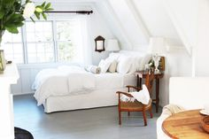 Floor to ceiling painted wood paneled attic bedroom. Would better with neutral greys over stark white. *A Country Farmhouse: Photo*