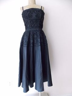 Party Dress Size Small Soutache Black Vintage 40s Formal Crochet Cocktail #Unknown