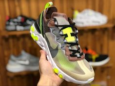 the best attitude 3aa7a 9eead 2018 Nike React Element 87 Cool Grey Volt Green Shoes-1 Green Shoes,  Sneakers