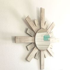 SableSol white pallet wood sunburst mirror