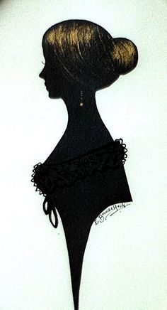 The above is Emily Brontë's silhouette by Elizabeth Baverstock. The image is from Charles Burns' incredibly detailed and interesting online Silhouette History. He's got a bajillion examples of silhouettes across the centuries.
