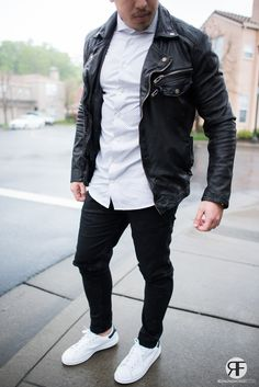 Men's Outfit Idea: White Shirt, Leather Jacket and Destroyed Jeans #leatherjacket #streetstyle #royalfashionist