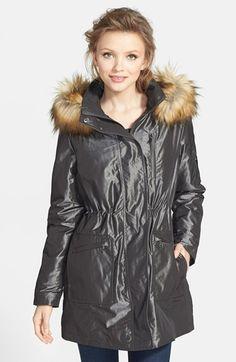 Kristen Blake Faux Fur Trim Iridescent Anorak (Regular & Petite) available at #Nordstrom