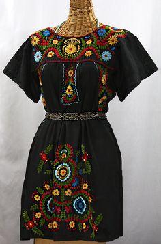 """""""La Talavera"""" Embroidered Mexican Dress - Black + Multi"""