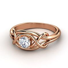 Infinity Knot Ring  Round Diamond 14K Rose Gold Ring