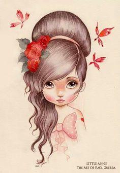 Illustration of Raul Guerra Art And Illustration, Girl Illustrations, Fantasy Kunst, Fantasy Art, Art Design, Cute Drawings, Love Art, Painting & Drawing, Amazing Art