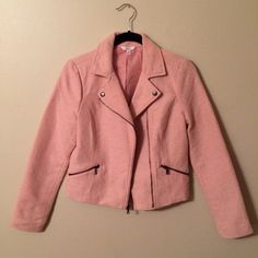 🌟Host Pick🌟 Pink Moto Jacket 🌟Host Pick 12/3/14 Rule Breaking Fashion Party🌟 Pink Moto Jacket, pink white and silver metallic poly blend, light pink poly lining, dark brass zippers and snaps, two pockets in front, gently worn Candie's Jackets & Coats