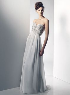 Michelle is a luxurious strapless chiffon wedding dress with a sweetheart shaped neckline, rich crystal details and a high waisted, modified a-line skirt. White Wedding Dresses, Wedding Dress Styles, Formal Dresses, White Chiffon, Chiffon Gown, Wedding Bridesmaids, Bridesmaid Dresses, Wedding Photography Inspiration, Dress For You