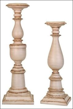We love these new shabby chic candlesticks! Woodworking In An Apartment, Easy Woodworking Projects, Woodworking Plans, Woodworking Chisels, Candle Stand, Candle Holders, Shabby Chic Candlesticks, Lampshade Designs, Wood Wax