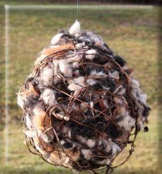 Alpaca fleece ornamental ball to let the birds fleece their nest!