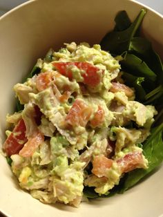 Avocado chicken salad, no mayo..... I didn't have tomatoes, used pico instead. Served on toasted focaccia rolls....yummy! Will be making this again!
