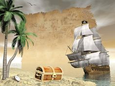 Pirate ship holding black Jolly Roger flag floating on the ocean toward an island showing treasure box by cloudy sunset with seagulls flying and old map. Free art print of Pirate ship finding treasure - render. Finding Treasure, Treasure Maps, Treasure Island, Jolly Roger Flag, Seagulls Flying, Pirate Art, Boat Art, Free Art Prints, Fine Art America