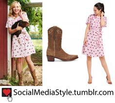 Buy Reese Witherspoon's Draper James Pink Fox Print Dress and Cowboy Boots, here!