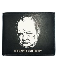awesome NEVER, NEVER, NEVER GIVE UP- Uplifting WINSTON CHURCHILL QUOTE- Men's Leather Wallet