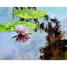 精品荷花池油画《荷花池上的倒影》室内装饰壁画 花卉 混搭 中画