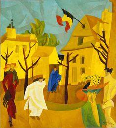Lyonel Feininger New York 1871 – New York 1956 Rue jaune II 1918 Huile sur toile 95 x 86,1 cm