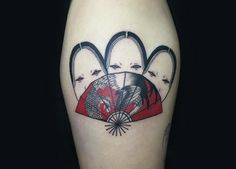 Japanese mask and fan tattoo by Suzani
