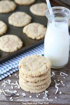 Chewy Coconut Oatmeal Cookies Recipe on www.twopeasandtheirpod.com Made with coconut oil! LOVE these cookies!