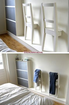 Backs of chairs attached to wall so you can hang your clothes on them. Saves space.