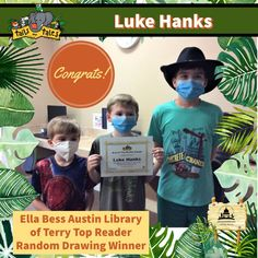 #SUMMERREADING PROGRAM HIGHLIGHT: Congratulations to Luke Hanks (center), the Top Reader at the Ella Bess Austin Library of Terry! Luke won Malco passes that he will share with his brothers Jacob (left) and Ben (right), new books and a Google prize pack, and is a random drawing winner of Funtime Skateland passes. Enjoy! 🥳 See who else has won at jhlibrary.org/srp21winners. #SummerReadingProgram #SRP #SRP2021 #TailsAndTales Summer Reading Program, New Books, Congratulations, Jackson, Baseball Cards, Drawings, Highlight, Movie Posters, Random