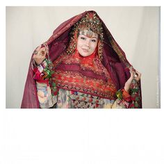 KARAKALPAK girl/ ҚАРАҚАЛПАҚ қызы Folk Costume, Costumes, Kazakhstan, Central Asia, World Cultures, Headgear, Traditional Outfits, Kara, High Neck Dress