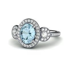 Platinum Aquamarine Engagement Ring 3 Stone Oval Aqua Halo Ring by RareEarth, $1385.00   Rare Earth Jewelry www.rareearthjewelry.com