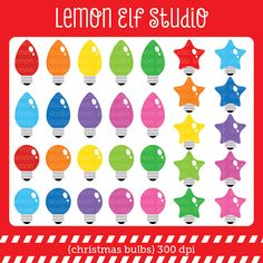 Christmas Bulbs Clipart Set Comes With Colorful And Various Shape Of Light These