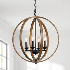 "LNC Farmhouse Chandeliers Faux Wood Finish 20"" Wide Orb Chandelier 4-Light – LNC HOME"
