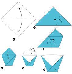 Diagramme d'origami de bol