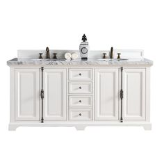 James Martin Signature Vanities Providence 72 in. W Double Vanity in Cottage White with Marble Vanity Top in Carrara White with White Basin
