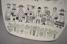 Arabia Finlandia Copa Emilia Raija Uosikkinen años 50 Helsinki, Painted Plates, Handmade Decorations, Draw, Vintage, Tableware, Illustration, Painting, Breakfast Nook
