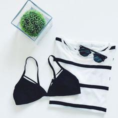 Strappy bralette, striped knit & Sunglasses