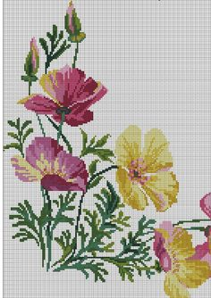 Cross Stitch Borders, Cross Stitch Rose, Cross Stitch Flowers, Cross Stitch Designs, Cross Stitching, Cross Stitch Patterns, Diy Crafts Hacks, Bargello, Summer Crafts