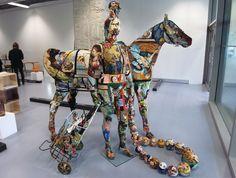 frédérique morrel: life sized embroidered tapestry sculptures