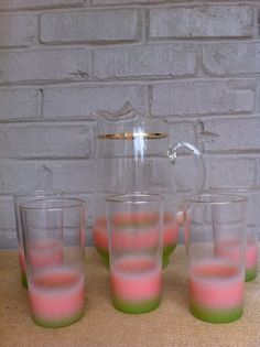 6a346a16913 Lemonade set Blendo Vintage pitcher glasses pink green gold