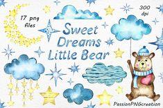 Sweet Dreams Little Bear clipart Watercolor clipart  PNG