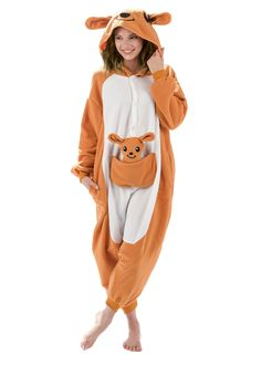 Emolly Fashion Kangaroo Animal Onesie - Soft and Comfortable with Pockets! Fun As a Costume or Pajamas - for Men Women Teens Adults! of Sales Donated to San Diego Zoo Global Wildlife Conservancy Satin Pyjama Set, Pajama Set, Pajamas For Teens, Pajamas Women, Adult Onesie Pajamas, Cute Onesies, Cute Onsies For Teens, Disney Onesies, Onesie Costumes