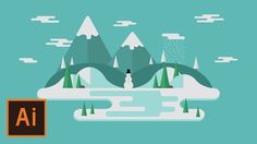 Illustrator Tutorial - Winter Floating Landscape (Illustrator Flat Desig...