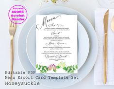 Honeysuckle Menu Card / Editable PDF Template / Party Supplies Menu Cards, Vintage Travel, Textile Design, Diy Wedding, Party Supplies, Template, Clip Art, Pdf, Creative