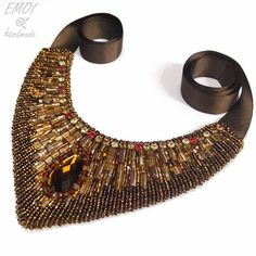 """Caramel"" statement necklace by Emoi handmade. Bead embroidery, ethnic jewelry, stones, cut seed beads, faceted glass beads."