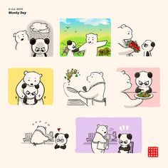 Moody Day - Panda and Polar Bear Cute Panda Cartoon, Panda Funny, Cute Couple Comics, Cute Couple Cartoon, Amor Ideas, Panda Love, Panda Panda, Panda Bears, Cute Bear Drawings