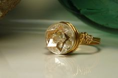 Star Strucked over this wire wrapped vintage glass button ring.