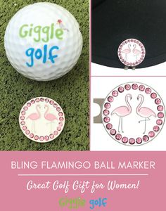 Flamingos bling golf ball marker with hat clip. Great golf gift for women!  Giggle 4fff049070c4