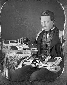 [daguerreotype portrait of a salesman displaying his eclectic collection of wares]. via the Library of Congress, Daguerreotype Collection Antique Photos, Vintage Pictures, Vintage Photographs, Old Pictures, Old Photos, Us History, American History, Daguerreotype, Interesting History
