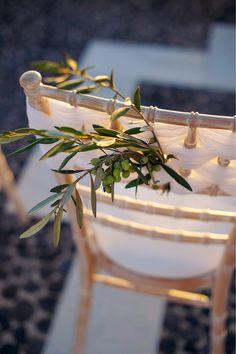 Grecian Wedding in Santorini Santorini Wedding, Greece Wedding, Wedding Chair Decorations, Wedding Chairs, Brunch Wedding, Wedding Events, Weddings, Wedding Reception, Olive Wedding