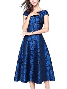 Navy Hollow Out Lace Bodycon Dress Evening Dresses Online, Midi Dresses Online, Mob Dresses, 1990s Fashion Trends, Women's Summer Fashion, Fashion Top, Womens Fashion, Floral Midi Dress, Flare Dress