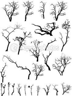 Страшно мертвые деревья силуэты коллекции — Векторная картинка #6126195